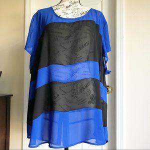 Torrid Blue & Black Short Sleeve Blouse